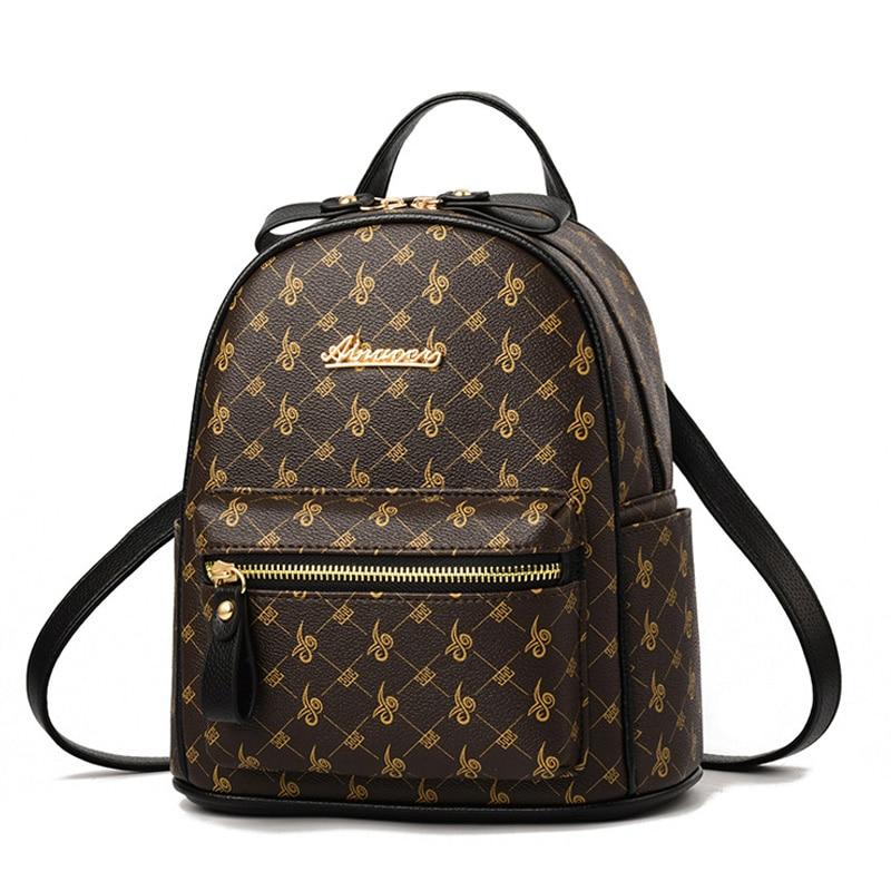 Luxury Famous Brand Design Women Backpack For Ladies Girls Vintage High Quality PU Leather Back Pack Bag Rucksack Bolsas Mochila