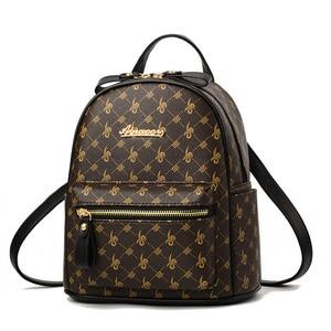 Image 1 - Luxury Famous Brand Design Women Backpack for Ladies Girls Vintage High Quality PU leather Back pack Bag Rucksack Bolsas Mochila