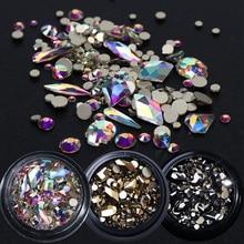 1 תיבת מעורב 3D Rhinestones נייל אמנות קישוטי קריסטל אבני חן תכשיטי זהב AB מבריק אבנים קסם זכוכית מניקור אביזרי TR768