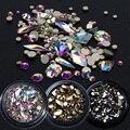 1 коробка, Смешанные 3D Стразы, украшения для дизайна ногтей, хрустальные драгоценные камни, ювелирные изделия, Золотые блестящие камни AB, оча...