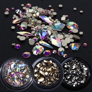 Image 1 - 1 kutu karışık 3D Rhinestones Nail Art süslemeleri kristal taşlar takı altın AB parlak taşlar Charm cam manikür aksesuarları TR768