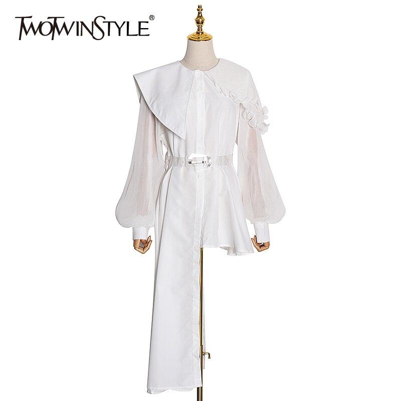 TWOTWINSTYLE Elegant Asymmetrical Women Dress Irreguar Collar Lantern Sleeve High Waist With Sashes Ruffles Dresses Female Tide