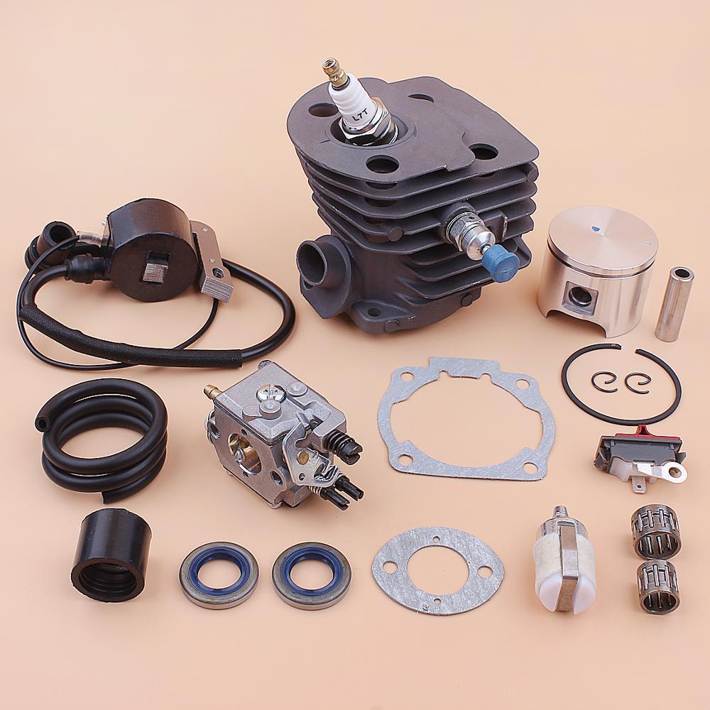 46mm Cylinder Piston Carburetor Ignition Coil Kit For Husqvarna 55 51 Fuel Filter Line Oil Seal Gasket Bearing Chainsaw