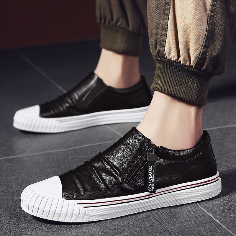 New Trend Youth Fashion Men Shoes Zipper Leather Man Sneakers Comfortable Casual Adult Shoe Designer Leather Sneakers For Men