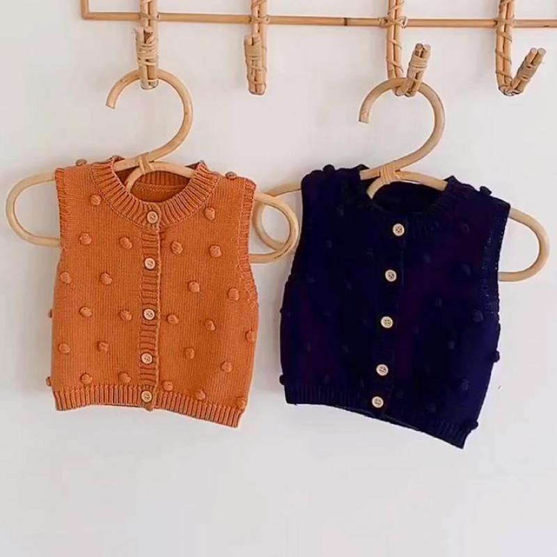 Baby Girls Cardigan Autumn Solid Color Children's Sweater Kids Baby Boy Knitted Cardigan Sleeveless Vest Coat 0-24M