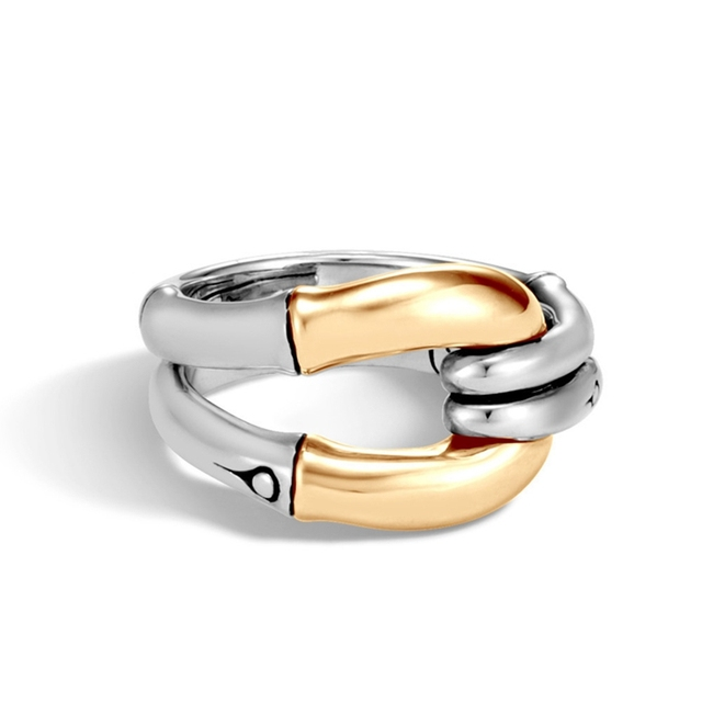 New Creative Punk Style Metal Copper Geometric Finger Rings For Women Men Knot Two-tone Rings Fashion Jewelry