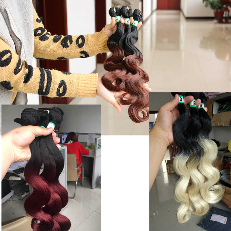 """MERISIHAIR 16"""" 18"""" 20"""" Body Wave Hair Weave Bundles Synthetic Hair Extensions for women"""