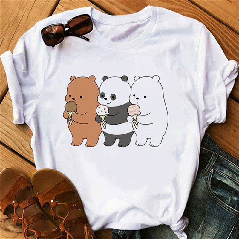 Cute Bears Funny Tshirt For Women Graphic Print T Shirts Women 2020 Vogue Tshirts Casual Short Sleeves Tops Tees Camiseta Mujer