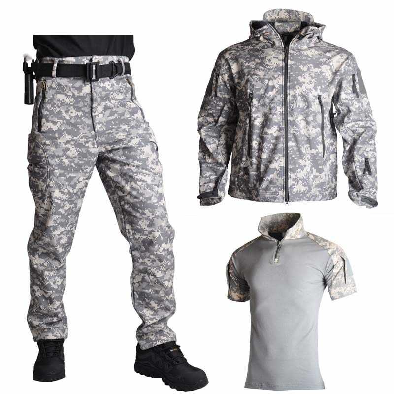 TAD акулья кожа, охотничья куртка, брюки, рубашки, походные костюмы, водонепроницаемые, ветрозащитные куртки, софтшелл, военная униформа, армейская одежда