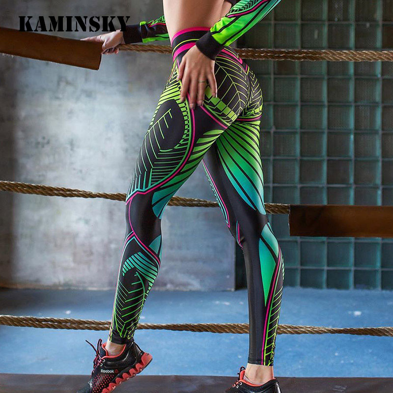 Kaminsky New Stripe Digtal Fitness Leggings Women Fashion Stripe Pant Workout Push Up Jeggings Color Sexy Women Sports Leggings