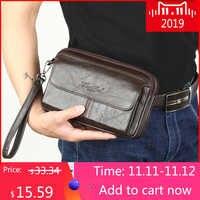 Męskie kopertówki męskie oryginalne skórzane torebki męskie długie portfele etui na telefon komórkowy kobiety Party Clutch Coin torebka 2018