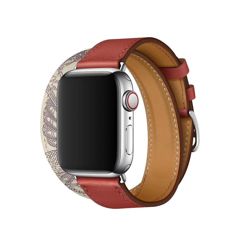 Loop Kulit Double Tour Tali untuk Apple Watch Seri 5 4 40 Mm 44 Mm Band Gelang Gelang untuk IWatch 38 Mm 42 Mm Seri 3 2 1