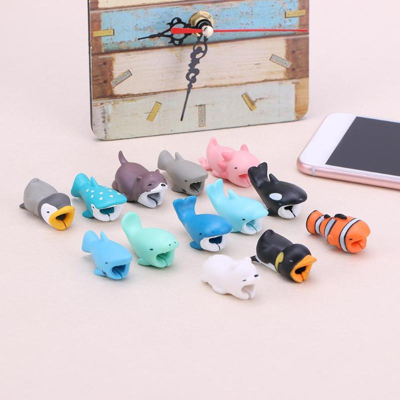 1Pcs Mini Animal Cable Protector Cord Wire Cartoon Protection Mini Silicone Cover Charging Cable Winder For Iphone Charger Cable