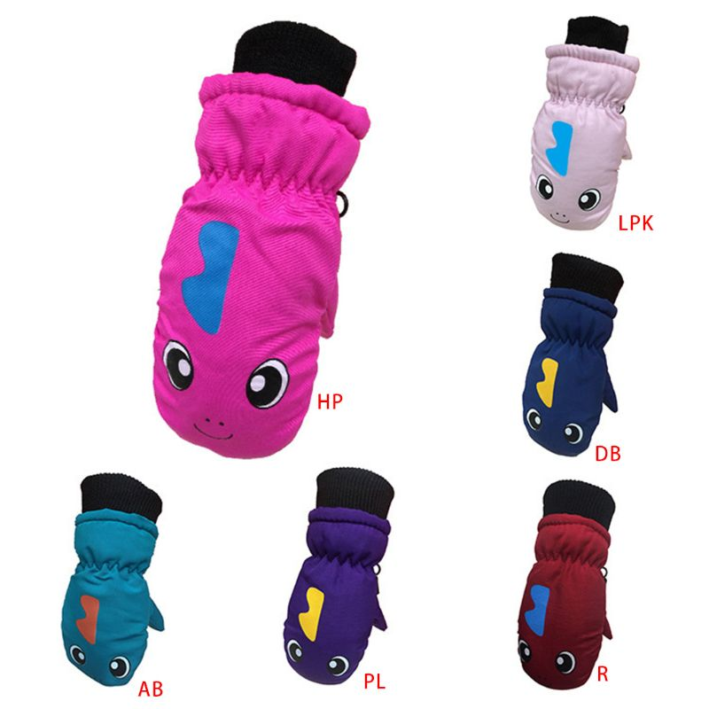 Toddler Infant Kids Winter Thick Lined Warm Gloves Cartoon Dinosaur Printed Waterproof Windproof Elastic Cuff Mittens 3-5T T3LD