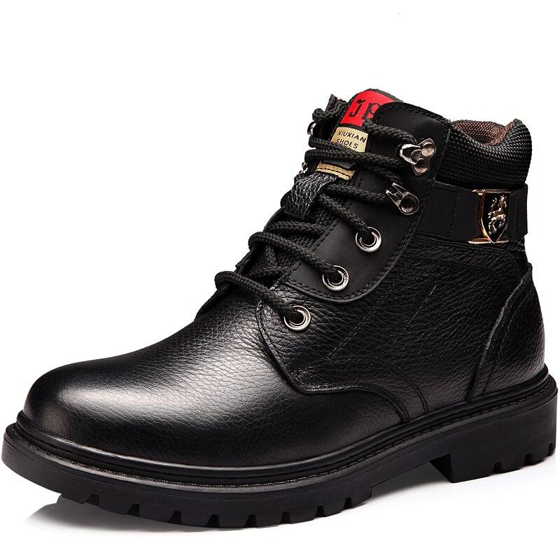 Hommes chaussures d'hiver chaud confortable mode en cuir véritable bottes de neige bottes imperméables hommes laine peluche bottes chaudes - 2