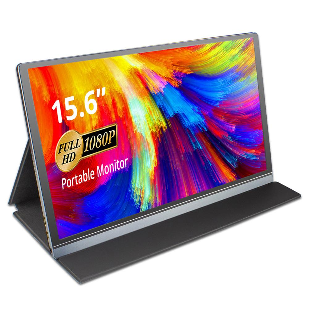 15.6 Inch Portable Monitors Full HD IPS 15.6 LCD Monitor Screen 1920*1080 Computer Touch Monitor with Leather Case for Laptop