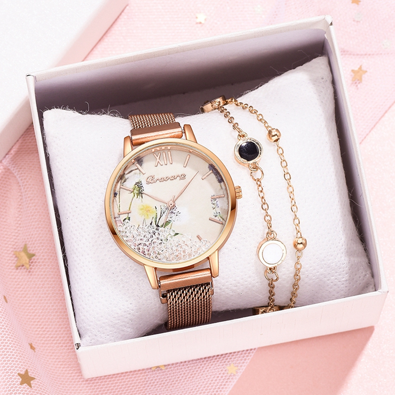 Luxury Magnetic Strap Dress Quartz Clock Watches For Women Luxury Rose Gold Quicksand Flower Dial Ladies Dress Wrist Watch Gift