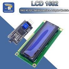 Плата адаптера диагональю 1602 дюйма, 16x2, HD44780 для Arduino, 5В, ЖК-дисплей, синий экран 1602A, последовательный интерфейс IIC/I2C PCF8574, комплект для самост...