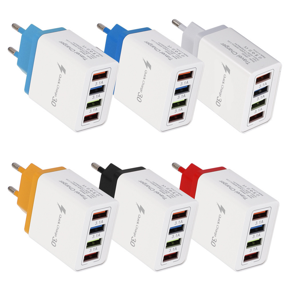 Four Ports USB HUB Power Adapter HUB Plug Travel Wall Charger For Cellphone