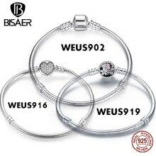BISAER 100% Plata de Ley 925 de serpiente auténtica para mujer, brazalete con cadena y cuentas, brazalete para Charms, joyería de lujo WEUS902