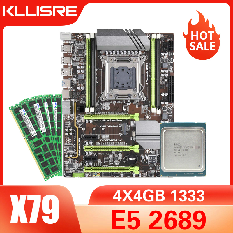 Kllisre X79 материнская плата с Xeon E5 2689 4x4 ГБ = 16 Гб 1333 МГц DDR3 память ECC REG|Материнские платы| | АлиЭкспресс