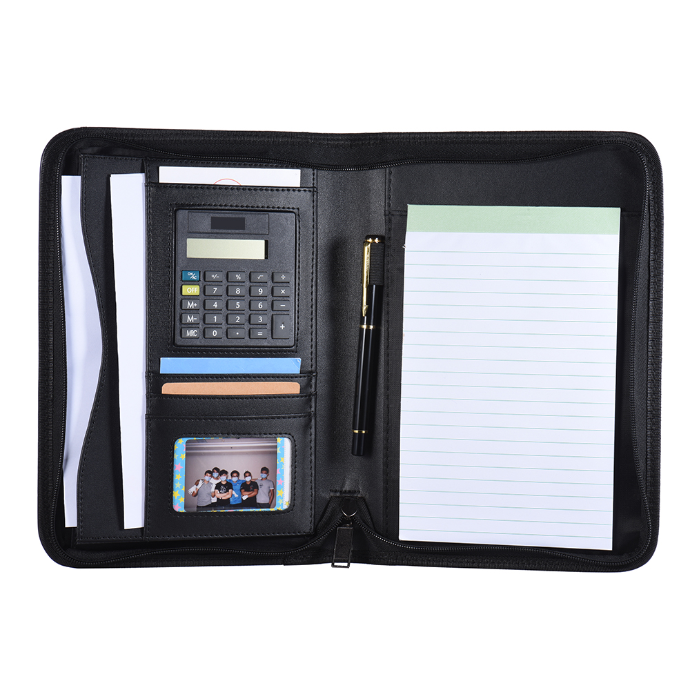Image 5 - Portable Professional Business Portfolio Padfolio Folder Document Case Organizer A5 PU Leather Zippered Closure with Card HolderPadfolio   -