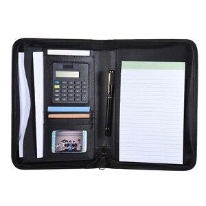 Image 5 - Taşınabilir profesyonel iş portföy Padfolio klasör evrak çantası organizatör A5 PU deri fermuarlı kapatma ile kart tutucu