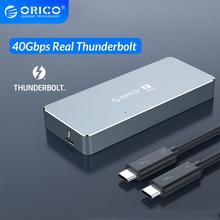Корпус ORICO Thunderbolt 3 40 Гбит/с NVME M.2 SSD, алюминиевый корпус Type C с кабелем Thunderbolt 3 C до C 40 Гбит/с для Mac и Windows