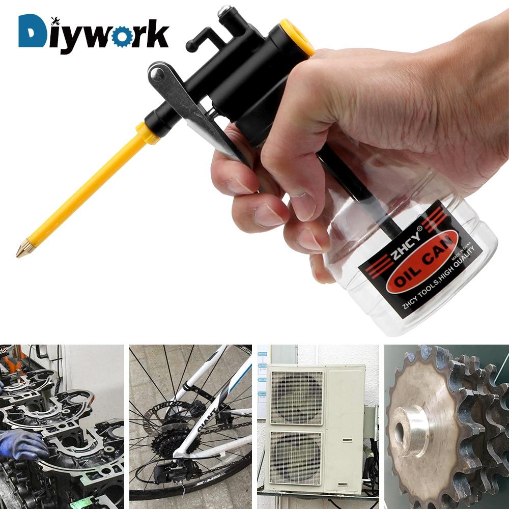 DIYWORK 250ML Clear Oil Can Oiler Lubrication Oil Plastic Machine Pump High Pressure Transparent Oiler Grease Flex Gun