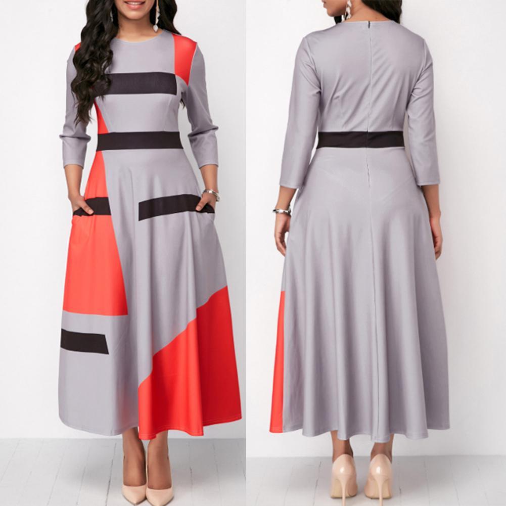Plus Size Fashion Women Color Block Striped 3/4 Sleeve O Neck Slim...