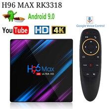 Android 10.0 smart tv Box H96 MAX RK3318 Android TV Box Penta core Mali 450 RK3318 Quad cor supporto 4K Costruito in 2.4G/5G WiFi