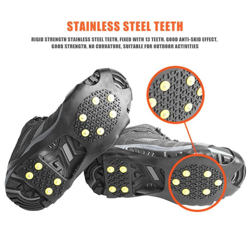 10 Studs Universal Ice Snow Shoe Spiked Grips Cleats Crampons Winter Climbing Camping Anti Slip Shoes Cover Imported Rubber
