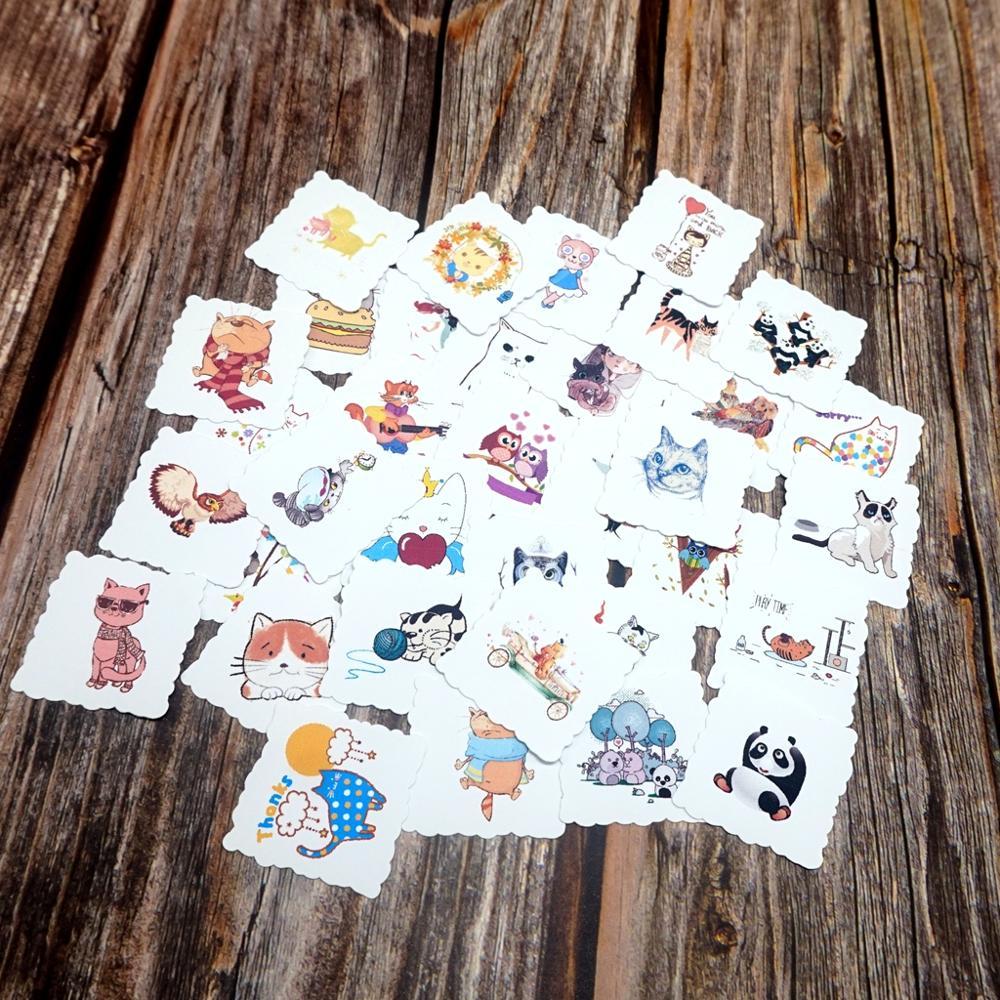 35pcs Kawaii Animals Waterproof Stickers Cute Cat Panda Diary School Stationery Stickers Skateboard Fridge Guitar Laptop Sticker