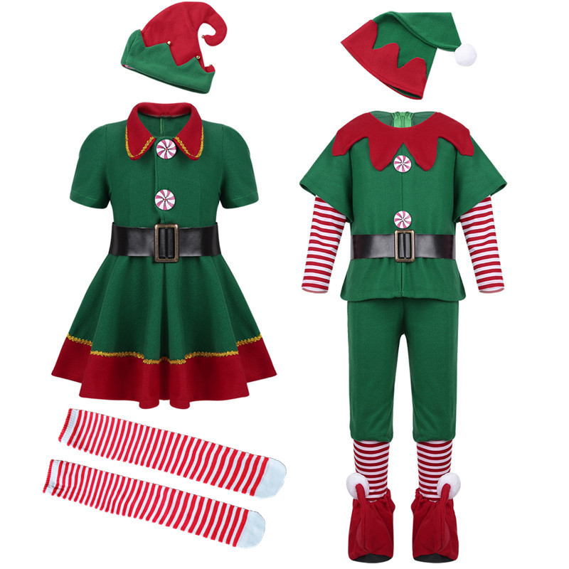 Christmas Boy Elf Mascot Costume Suits Cosplay Party Game Fancy Dress Outfits Us