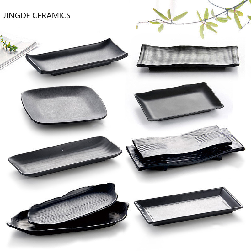 Black Scrub Striped Barbecue Meat Sushi Plate Melamine Kitchen Cutlery Korean Cuisine Saury Fruit Dessert Sushi Storage Plate