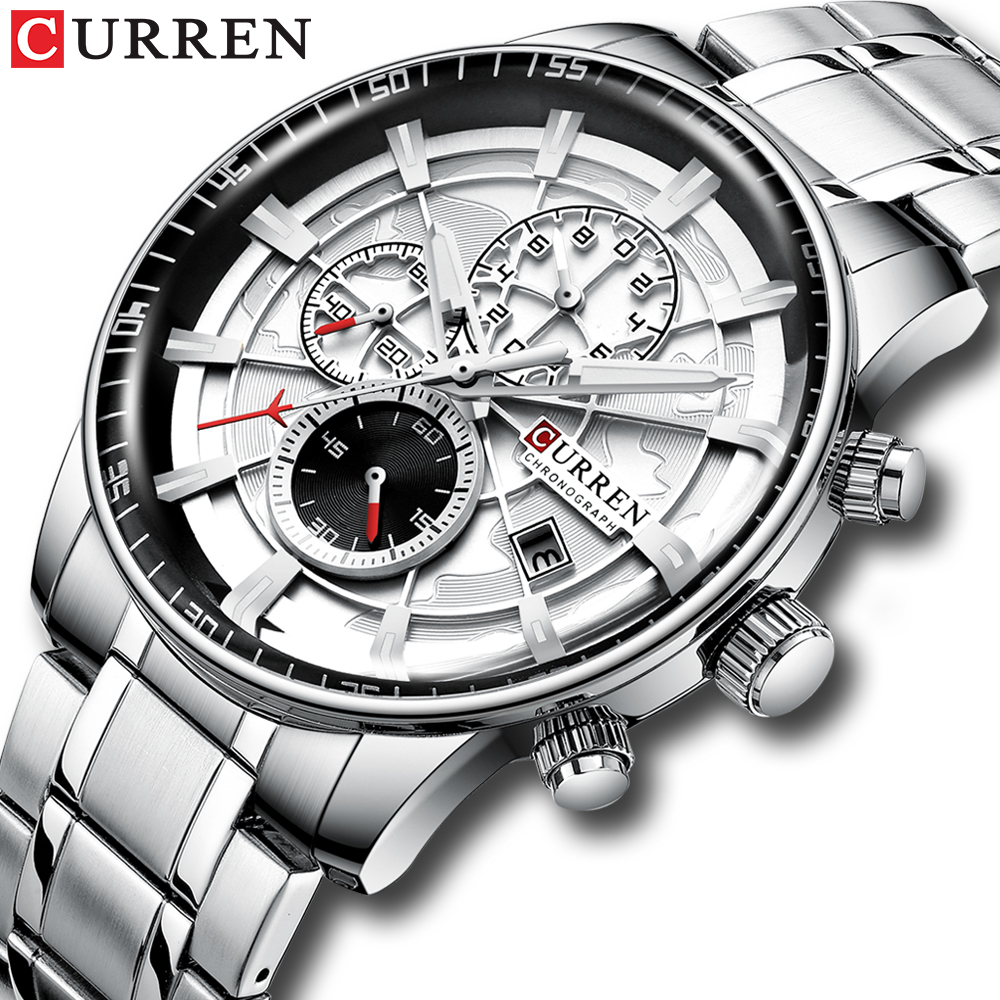 CURREN Brand Men Sport Watches Causal Stainless Steel Band Wristwatch Chronograph Auto Date Clock Ma