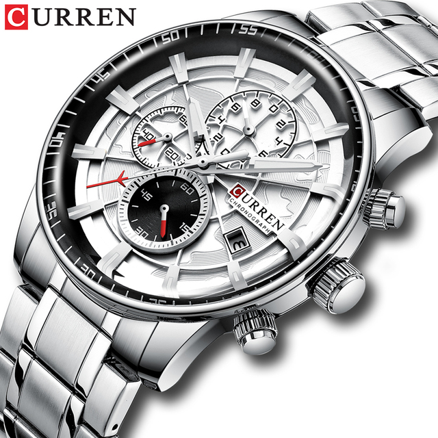CURREN Brand Men Sport Watches Causal Stainless Steel Band Wristwatch Chronograph Auto Date Clock Male Relogio Masculino