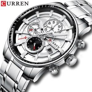 Image 1 - CURREN Marke Männer Sport Uhren Kausalen Edelstahl Band Armbanduhr Chronograph Auto Datum Uhr Männlich Relogio Masculino