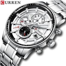 Часы наручные CURREN Мужские с хронографом, Брендовые спортивные повседневные с браслетом из нержавеющей стали, с автоматической датой