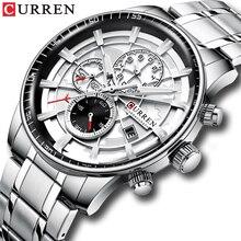 Marca CURREN relojes deportivos para hombre, reloj de pulsera informal de acero inoxidable, cronógrafo, reloj con fecha automática, Masculino