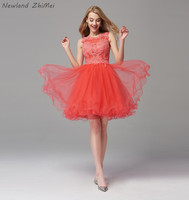 New Arrival 2020 Orange Red Cocktail Dress Elegant Applique Bead Tulle Sexy Open Back A Line Homecoming Dresses