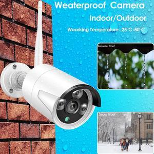 "Image 2 - 8CH 1080P Audio Draadloze Surveillance Cctv Systeem Netwerk 10.1 ""Lcdmonitor Nvr Recorder Wifi Kit 1080P Hd 2.0MP audio Wifi Camera"