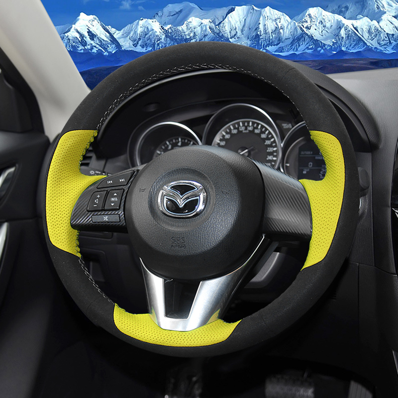 Hand-stitched Steering Wheel Cover Genuine Leather DIY car Steering Wheel Cover for <font><b>Mazda</b></font> 3 CX-3 <font><b>2016</b></font> <font><b>Mazda</b></font> CX-5 <font><b>CX5</b></font> Atenza 2014 image