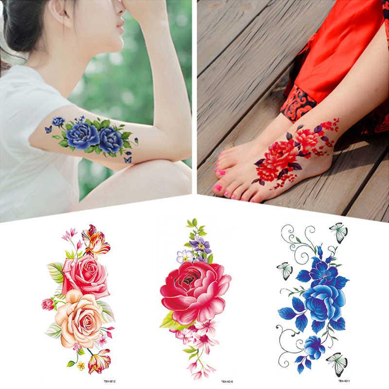 กันน้ำดอกไม้Tattooสติกเกอร์ง่ายไม่มีทำร้ายผิวนาฬิกาข้อมือTattooสติกเกอร์Clavicle Tattooสติกเกอร์