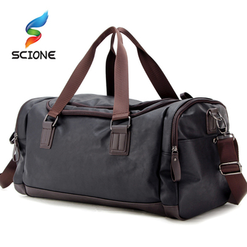 Top Quality PU Leather Fitness Training Bags For Men Large Classic Soft Sports Gym Mens Travel Multifunction Handbag