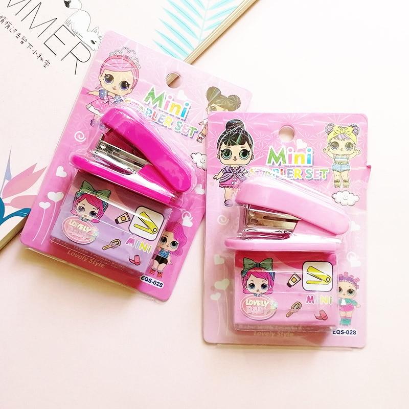 Мультфильм кукла степлер офисный переплет канцелярские принадлежности сюрприз Kawaii ребенок степлер скобы набор для детей девочка подарок