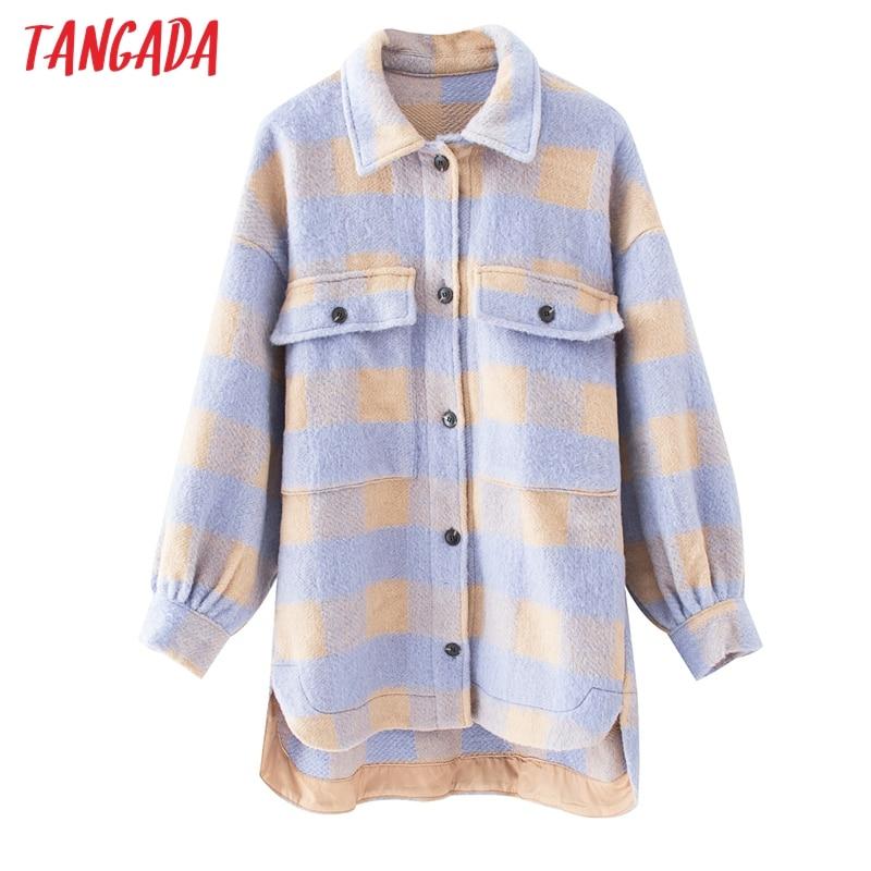 Tangada Vintage Purple Lattice Long Jacekt Coat Women 2020 Spring Shirt Jacket Oversized Plus Size Women Jacket QJ101