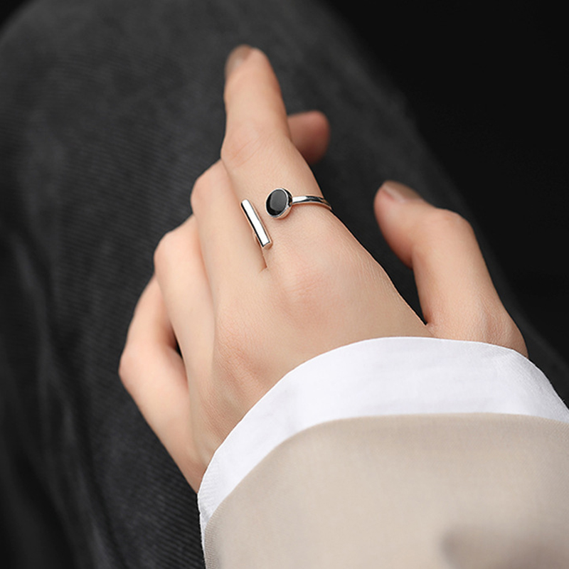 XIYANIKE 925 en argent Sterling géométrique noir strass anneau rond femme mode coréenne ouvert réglable à la main Couple cadeaux 3