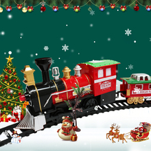 Christmas Electric Train Toys Children's Electric Railway Track Train Set Racing Road Transportation Building Toys For Xmas Gift стоимость