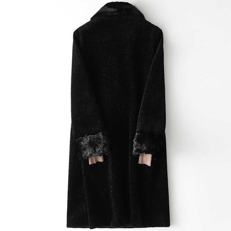 Korean Vintage Mink Fur Collar Wool Coat Female Jacket Autumn Winter Coat Women Clothes 2020 Warm Long Tops Manteau Femme ZT4210
